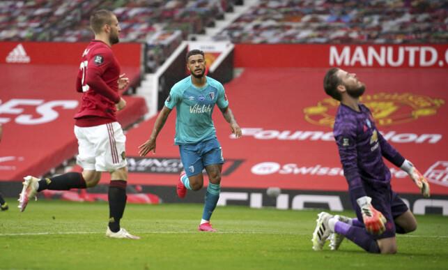STORTAP: Joshua King og Bournemouth fikk seg en lærepenge da laget tapte 5-2 for Manchester United i helga. Foto: NTB scanpix