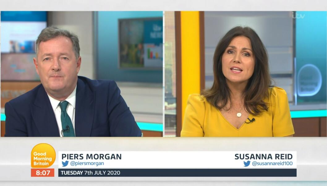 UENIGE: Slik så det ut da «Good Morning Britain»-profilene Piers Morgan og Susanne Reid kranglet over hertugparets nye video tirsdag morgen. Foto: NTB Scanpix