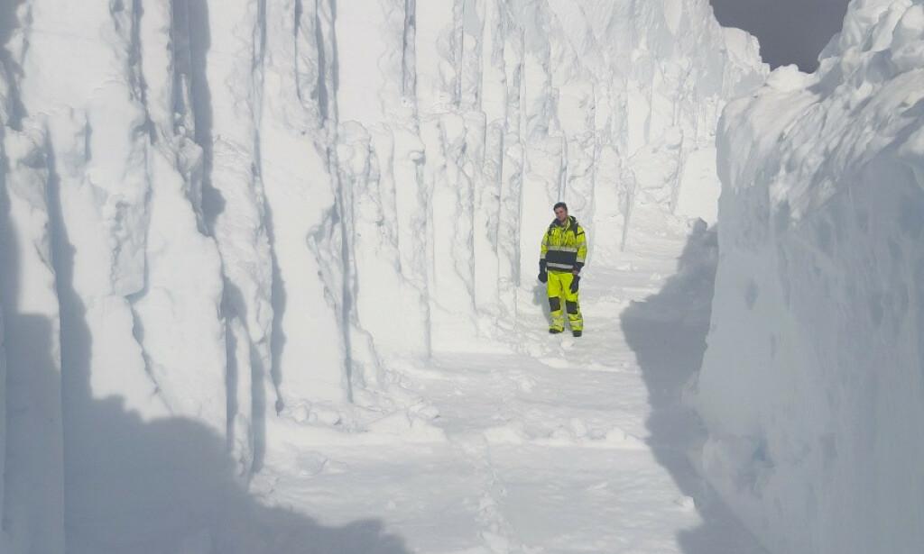 FJERNET: Over 2000 kubikkmeter snø er fjernet denne uken. Foto: BKK / NTB scanpix