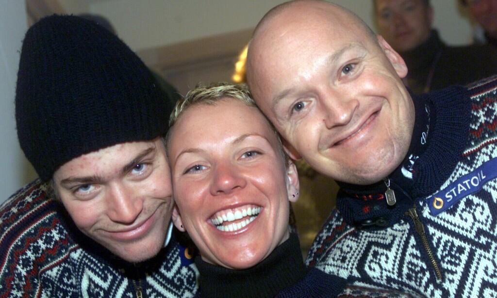 GODE VENNER: Hans Petter Buraas og Finn Christian Jagge, her sammen med Andrine Flemmen under VM i 1999. Foto: Erik Berglund / Aftenposten / NTB Scanpix