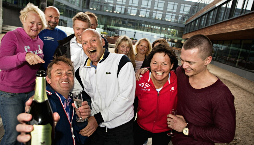 I SORG: Dag Erik Pedersen (med champagneflaska) forteller at han vil minnes Jagge som en mester og en vinner. Her er han fotografert i forbindelse med finalen i 2011. Foto: Anders Grønneberg / Dagbladet