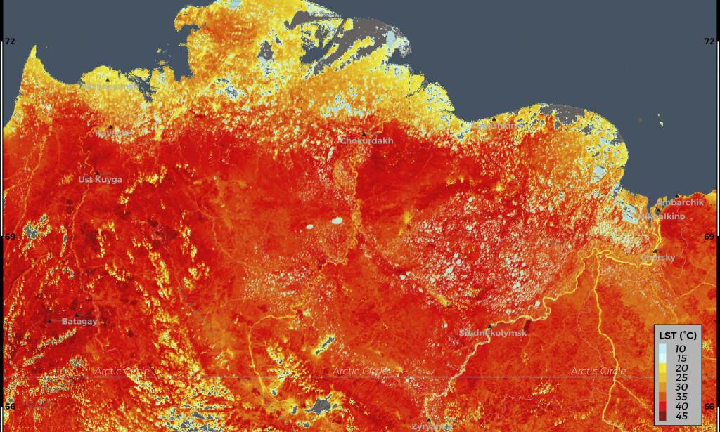 Dette bildet viser overflatetemperaturer i Sibir i Russland, der det ble målt rekordhøye temperaturer i juni. Foto: ECMWF Copernicus Climate Change Service via AP / NTB scanpix