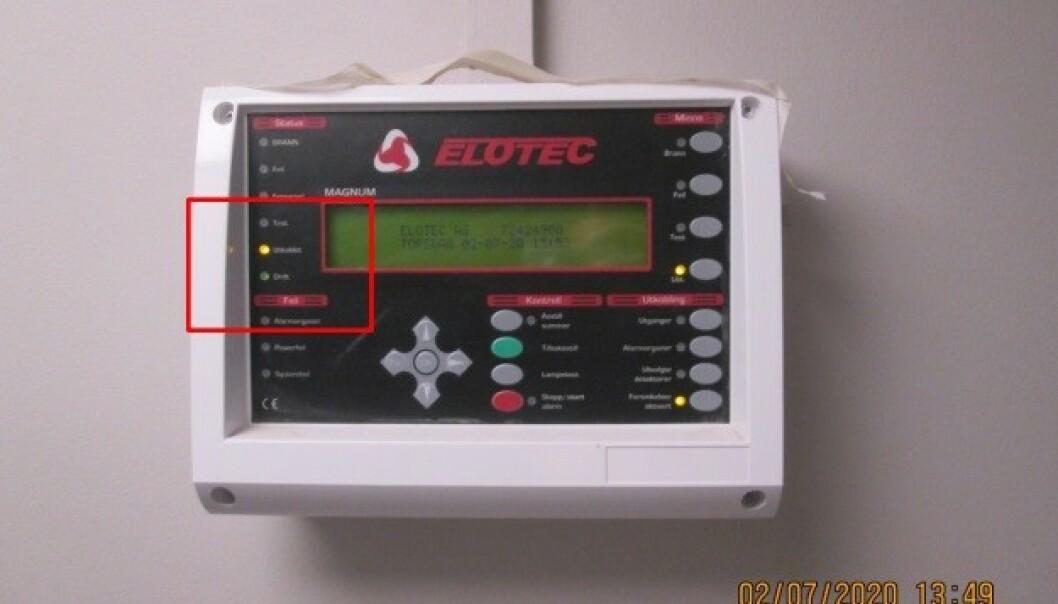 <strong>KOBLET UT:</strong> Brannvarslingsanlegg som er utkoblet. Foto: Plan- og bygningsetaten