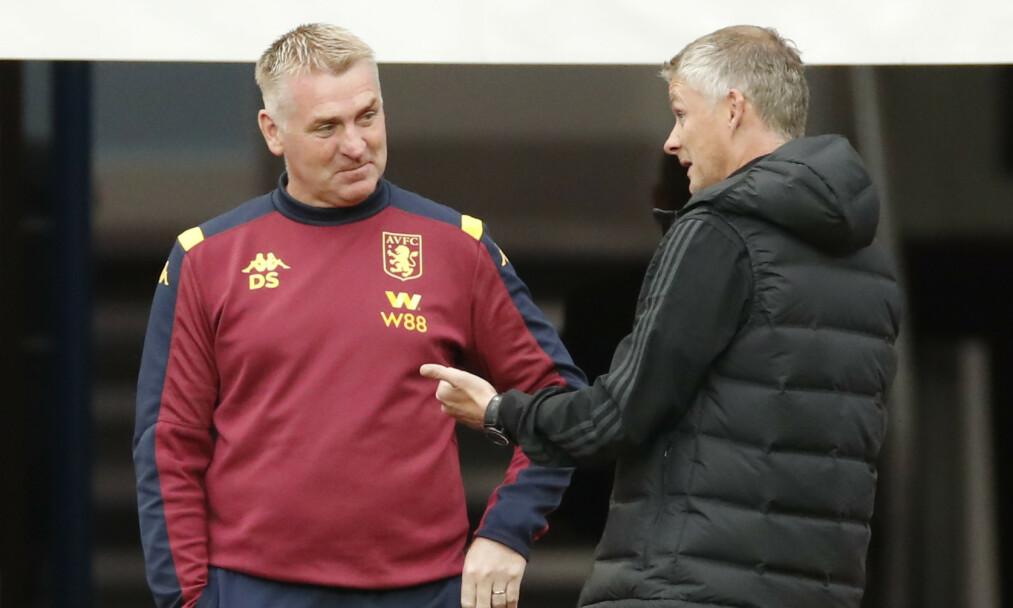 FRUSTRASJON: Aston Villa-manager Dean Smith var rasende etter kampen mot Ole Gunnar Solskjær og Manchester United. Foto: NTB scanpix