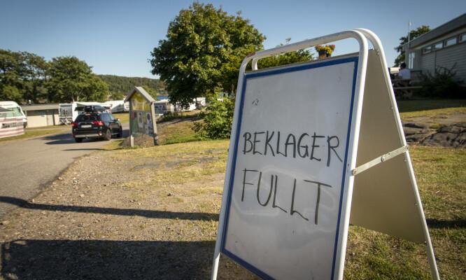 FULLT: Denne beskjeden venter deg vanligvis om du ankommer campingplassen etter klokka 11. Foto: Lars Eivind Bones / Dagbladet.