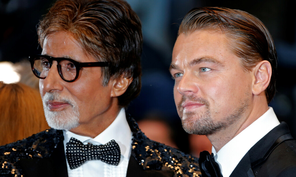 STJERNE: Amitabh Bachchan har vært en stjerne i India i fem tiår. Her er han sammen med Leonardo DiCaprio under en visning av filmen «The Great Gatsby». Foto: REUTERS/Eric Gaillard/File Photo