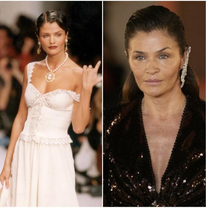 Til venstre er Christensen avbildet i 1994. Til høyre er hun tilbake på catwalken for it-merket Balmain tidligere i år. FOTO: Scanpix