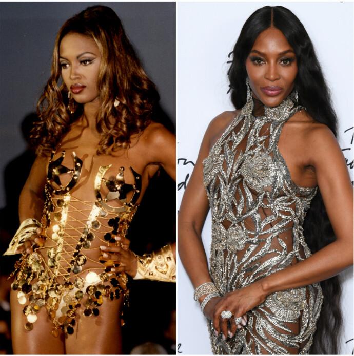 Til venstre er Campbell på 90-tallet. Til høyre er hun på The Fashion Awards i London i fjor. FOTO: Scanpix
