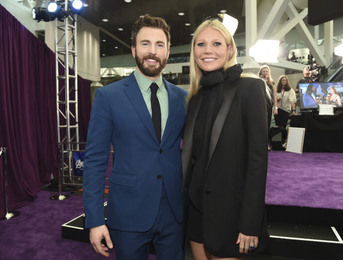 MOVIE STAR: Chris Evans and co-star Gwyneth Paltrow at the premiere