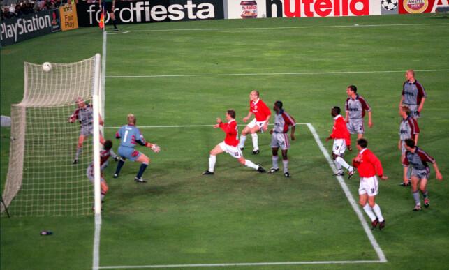 «SOLSKJAER HAS WON IT»: Her er øyeblikket da Ole Gunnar Solskjær avgjorde Champions League-finalen for Manchester United i 1999. Kommentator for ITV: Clive Tyldesley. Foto: NTB scanpix