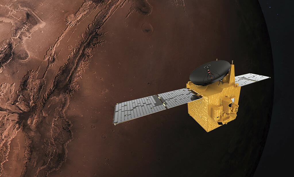 En skisse fra romfartsorganisasjonen til De forente arabiske emirater. Tegningen viser sonden Hope i bane rundt Mars. Foto: MBRSC via AP/NTB scanpix