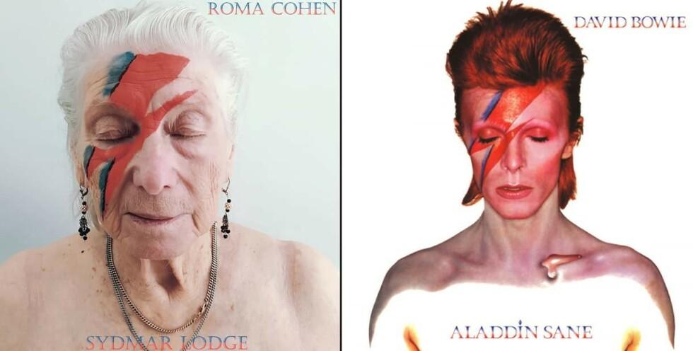 SKILT VED FØDSELEN? David Bowie sitt album, var ett av flere som ble gjenskapt av beboerne på sykehjemmet. Foto: Robert Speker / Sydmar Lodge