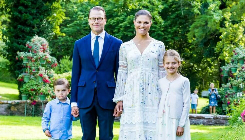 UVANLIG: Kronprinsesse Victoria valgte i år å bryte en årelang tradisjon, og gikk for et noe uvanlig bursdagsantrekk. Foto: SPA
