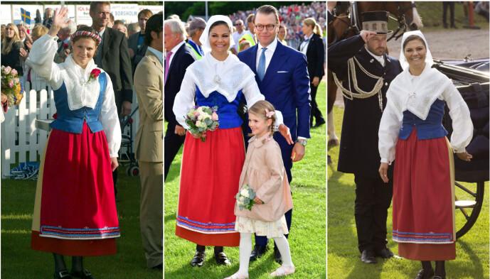 ÖLAND: Kronprinsesse Victoria er vanligvis å se i folkedrakten fra Öland. Her avbildet under feiringene av henholdsvis 27-, 40- og 38-årsdagen hennes. Foto: NTB Scanpix