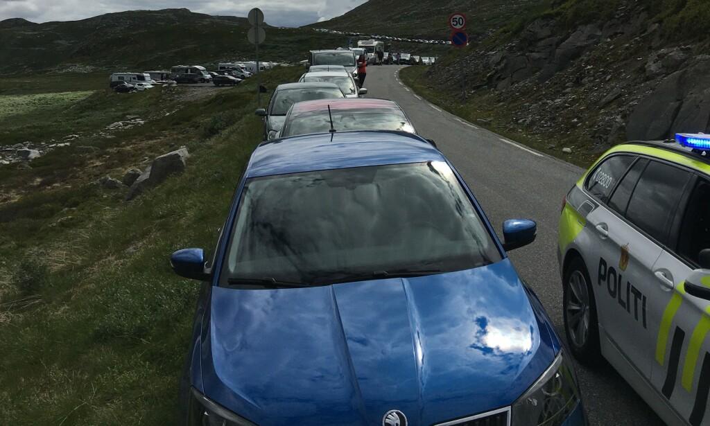 LANG REKKE: Bilene står parkert tett langs den svingete veien ved Stavsro torsdag. Foto: Politiet