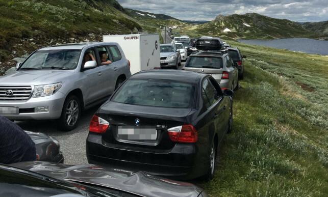KAOS: Ifølge politiet har mange hundre biler parkert langs den svingete veien opp mot parkeringsplassen til Gaustatoppen. Foto: Politiet