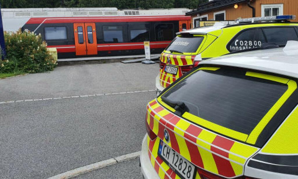 image: Bombetrussel på tog ved Eidsvoll