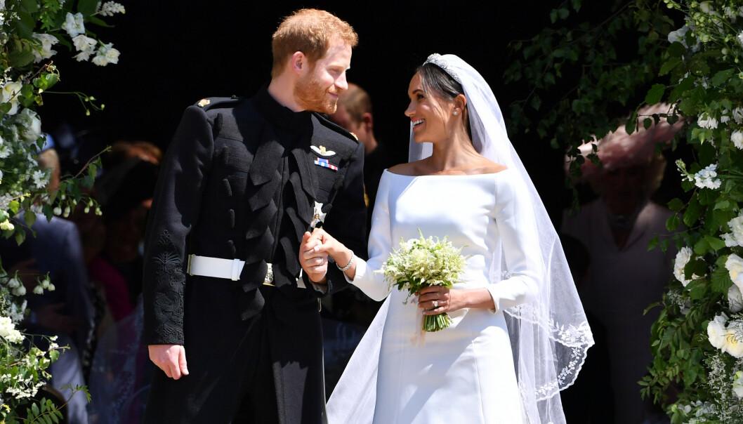 GIFT: Hertuginne Meghan og prins Harry giftet seg i mai 2018. Meghan var ikledd en hvit, stilren kjole designet av Clare Waight Keller. Foto: NTB Scanpix