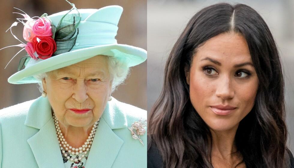BUDSKAP: Dronning Elizabeth skal ha lånt vekk både kjole og tiara til barnebarnet Beatrices bryllup. Hertuginne Meghan fikk derimot «bare» et diadem av dronningen under sitt bryllup i 2018. Foto: NTB Scanpix