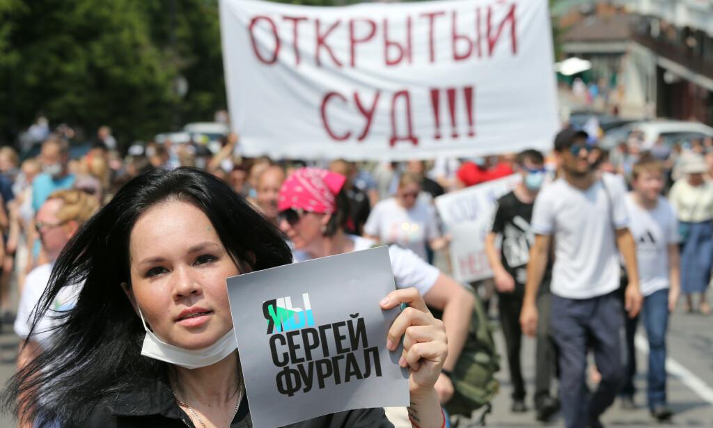 HAR FÅTT NOK: Demonstrasjoner i Khabarovsk mot arrestasjonen av guvernør Sergej Furgal. Foto: REUTERS / NTB Scabpix