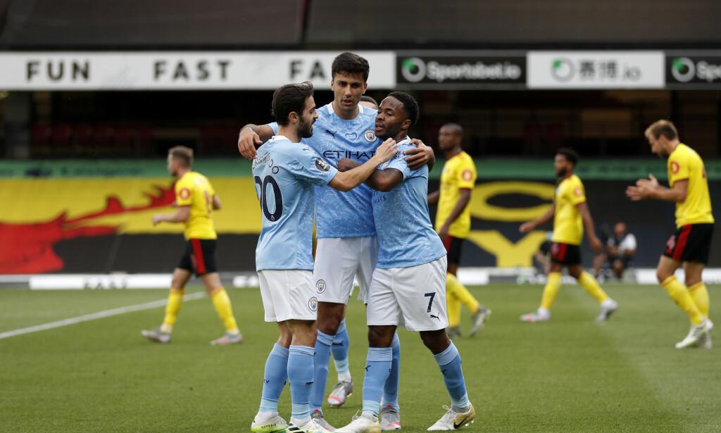 HERJET: Raheem Sterling og City ga Watford liten sjanse tirsdag kveld. Foto: Adrian Dennis/Pool via AP