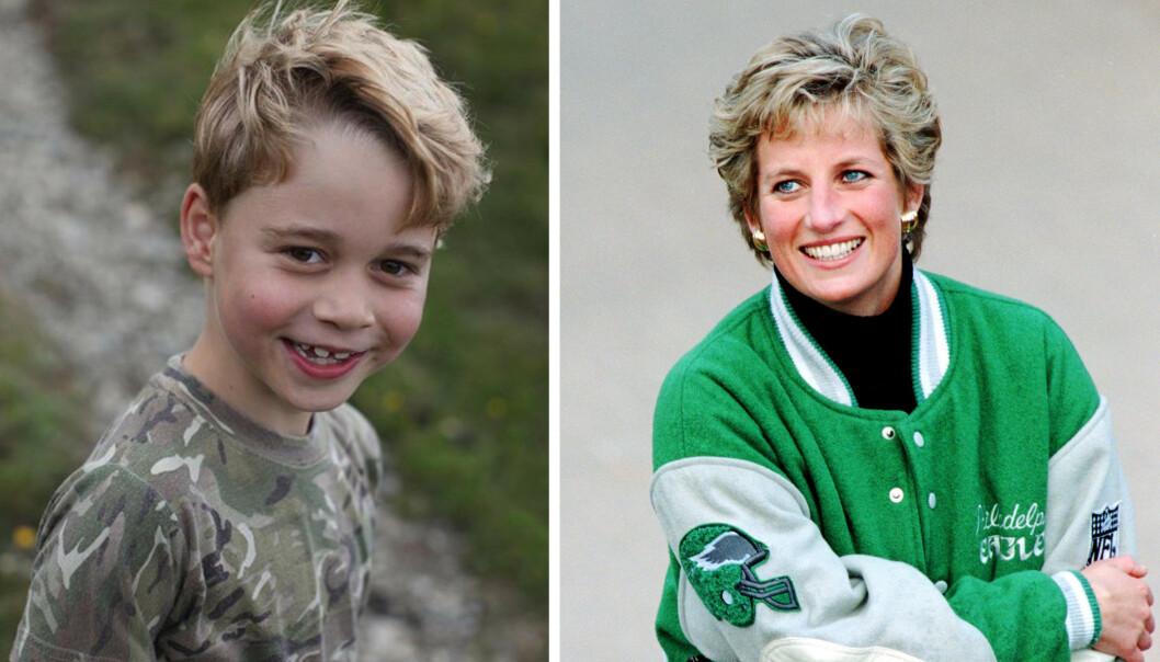 KONGELIG: Nytt foto av prins George i anledning 7-årsdagen! Mange mener sjarmøren er en tro kopi av sin avdøde farmor prinsesse Diana. FOTO: Instagram og NTB scanpix