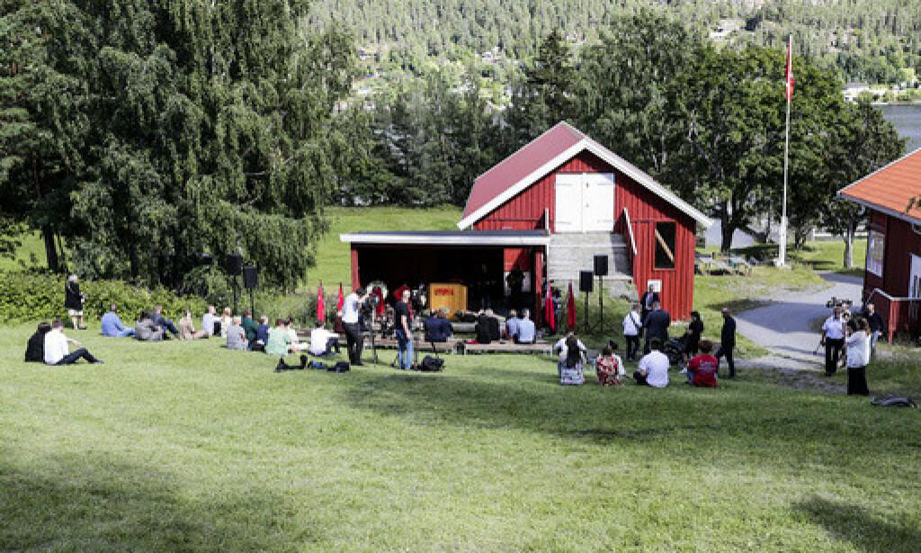 UTØYA: Samling i bakken under Ni-årsmarkering for terrorangrepet på Utøya 22. juli 2011. Foto: Berit Roald / NTB scanpix
