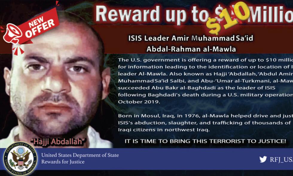 UTLYSER DUSØR: USAs har utlovet 10 millioner dollar for opplysninger som kan føre til at den nye IS-lederen Amir Muhammad Sa'id Abdal-Rahman al-Mawla blir funnet. Foto: Rewards for Justice USA / NTB scanpix