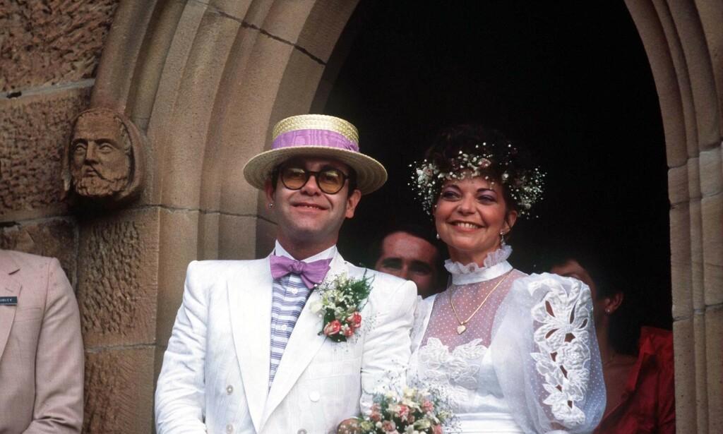 BRYLLUP: Elton John og Renate Blauel giftet seg i Australia i 1984. Ekteskapet varte til 1988. Foto: REX