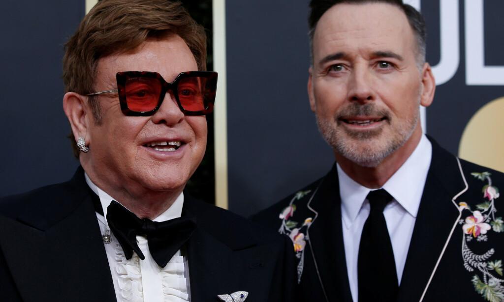 NY EKTEFELLE: Elton John og ektemannen David Furnish under Golden Globe-utdelingen tidligere i år. Foto: REUTERS/Mario Anzuoni/File Photo