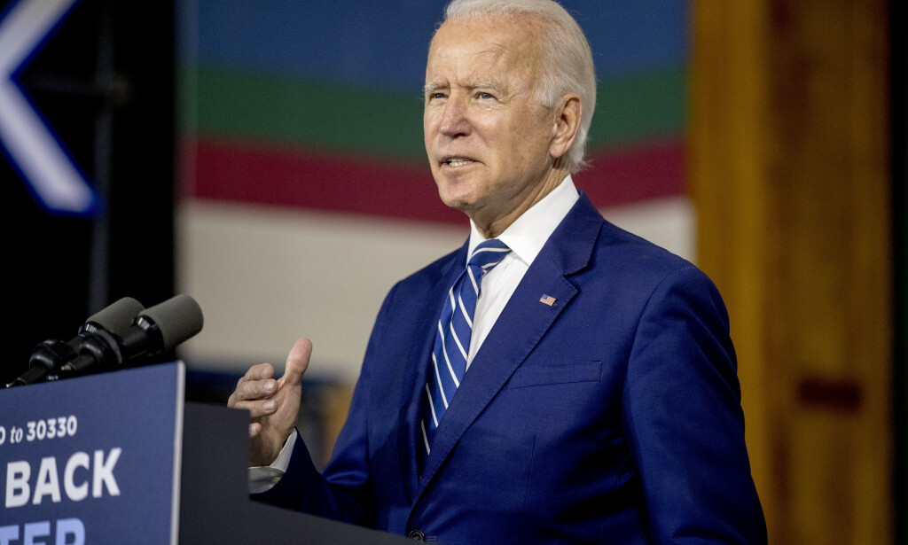 Demokratenes presidentkandidat Joe Biden på et valgkamparrangement i New Castle i Delaware tirsdag. Den tidligere visepresidentens valgkamp har en sjeldent lav profil. Foto: Andrew Harnik / AP / NTB scanpix