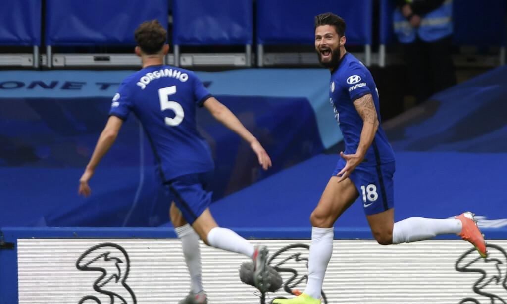 JUBEL: En råsterk Olivier Giroud ble matchvinner for Chelsea mot Wolverhampton søndag. Foto: Mike Hewitt/Pool via AP)