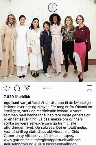 MØTTE MICHELLE OBAMA: Ngo har mer enn 167000 følgere på Instagram, og deler der fra sin varierte hverdag - som da hun møtte Julia Roberts og Michelle Obama. Foto: Skjermdump fra Instagram