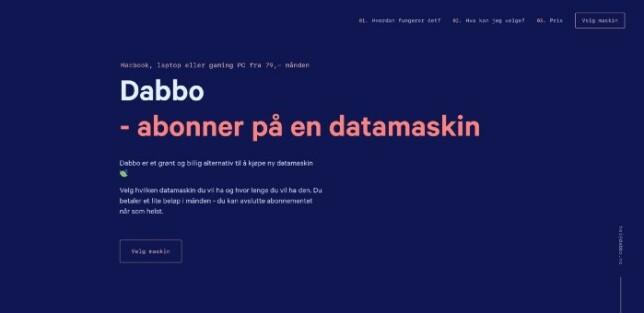 Første utkast på Dabbo.no, fra en tidligere mal. Tid: ca. 2–3 timer arbeid