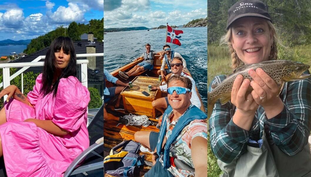 SOMMER: De norske kjendisene benytter seg blant annet av solsengen hjemme i Norge, som Maria Mena, sjøen, som Kyrre «Kygo» Gørvell-Dahll, og fiskemulighetene, som Henriette Steenstrup, når de ferierer i sommer. Foto: Skjermdump fra Instagram