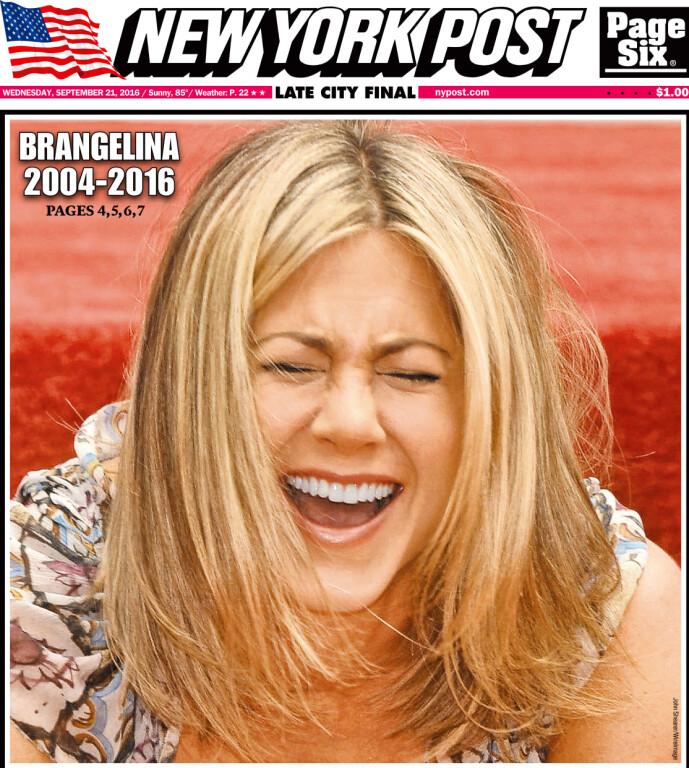 BRUDD: Dette var forsiden av New York Post i 2016 da det ble kjent at Brad og Angelina skulle skilles. Foto: NTB Scanpix