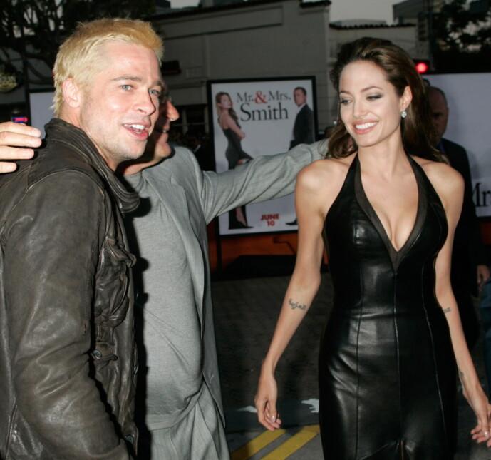 MER ENN BARE VENNER: Brad og Angelina stilte opp sammen under premieren av «Mr. & Mrs. Smith», bare fem måneder etter at han slapp bomba om at han skulle skilles fra Jennifer Aniston. Foto: NTB Scanpix