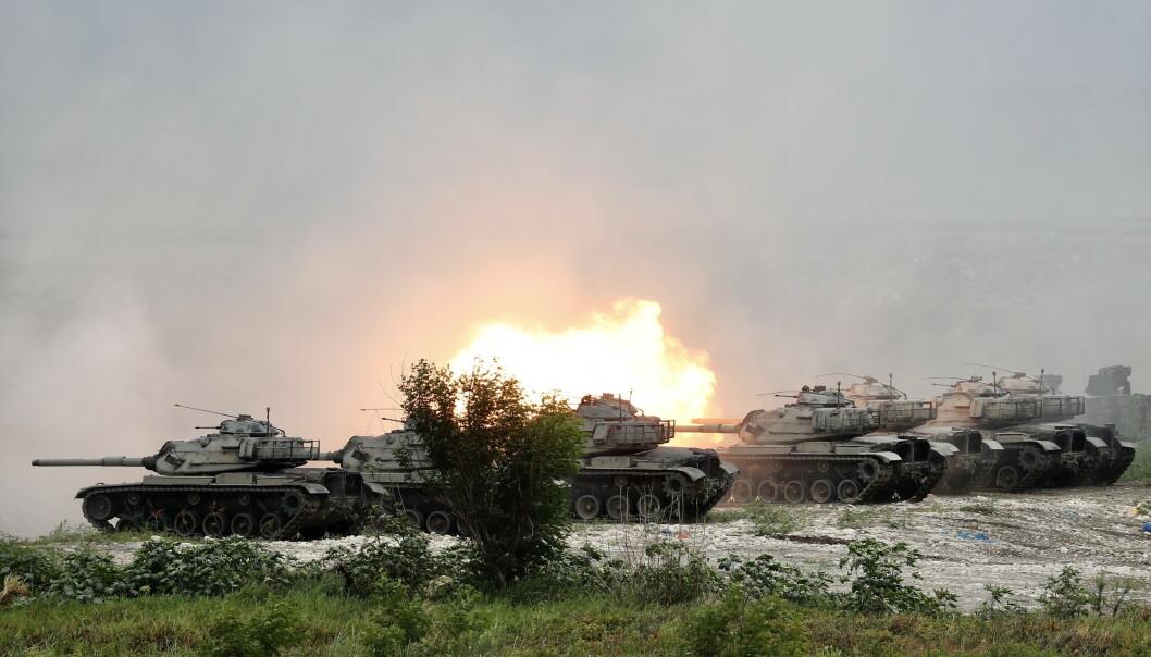 TRENER STYRKENE: I Taiwan har nylig holdt militærøvelse for å forberede seg på en eventuell invasjon fra Kina. Foto: NTB Scanpix