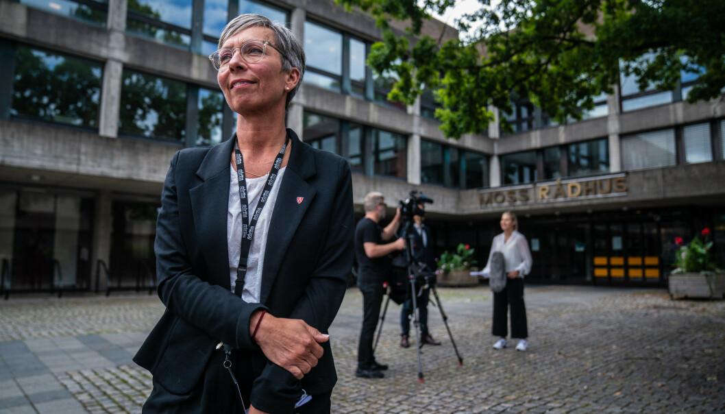 NEGATIVE RESULTATER: På pressebrifen torsdag uttrykte ordfører Hanne Tollerud glede over at de ikke har ny smitte ved Rosnes omsorgsboliger. Foto: Stian Lysberg Solum / NTB scanpix