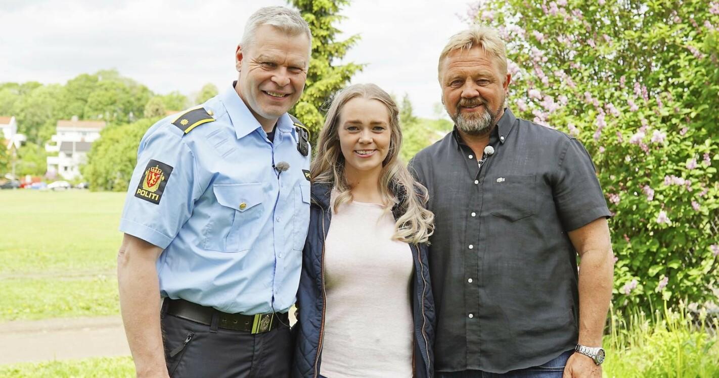 GRIPENDE GJENSYN: Det var politimennene Olav Lundberg (t.v.) og Asle Kåre Fonn som fant Ingrid i søppelcontaineren i 1990. Det sterke møtet med redningsmennene 29 år senere ble tårevått.