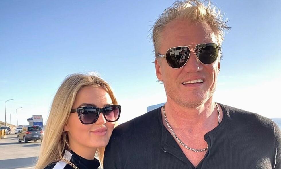 VÅKNA AV JORDSKJELV: Emma Krokdal og forloveden Dolph Lundgren våkna av et større jordskjelv i Los Angeles. Foto: Privat