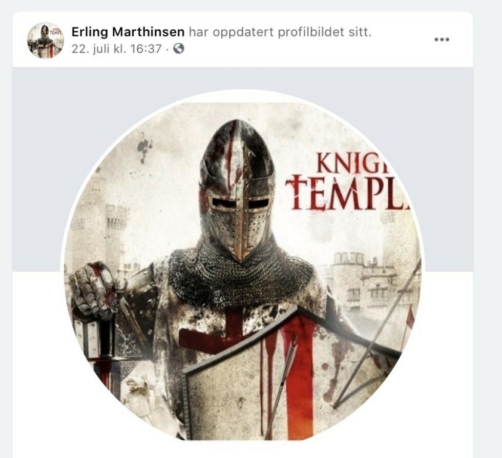 - LESTE BOK: Erling Marthinsen skriver at det var en ren tilfeldighet at han endret profilbildet på Facebook til en tempelridder 22. juli. - Jeg hadde lest ferdig en bok, skriver han. Skjermdump fra Facebook