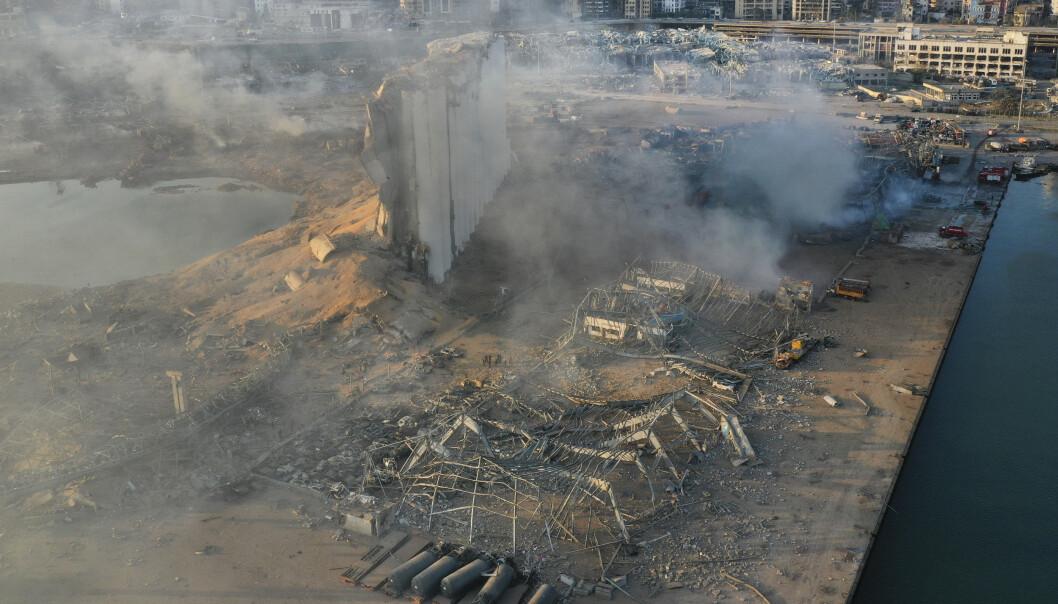 <strong>ØDELAGT:</strong> Kornlageret ble ødelagt under eksplosjonen tirsdag. Det kan bety starten på en matkrise. Foto: Hussein Malla / AP / NTB scanpix