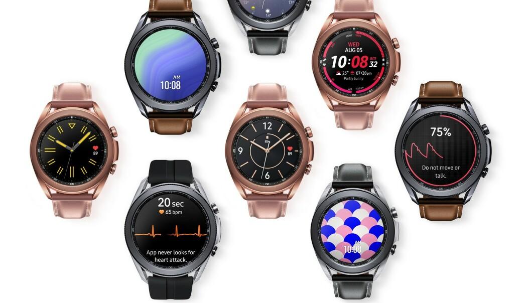<strong>MANGE MULIGHETER:</strong> Via Samsungs mobilapp kan du laste ned over 80.000 urskiver til Galaxy Watch 3. Foto: Samsung
