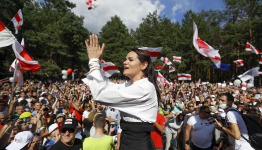<strong>NYTT ANSIKT:</strong> Svetlana Tikhanovskaja er opposisjonens ansikt i søndagens valg i Hviterussland. Foto: AP / NTB Scanpix
