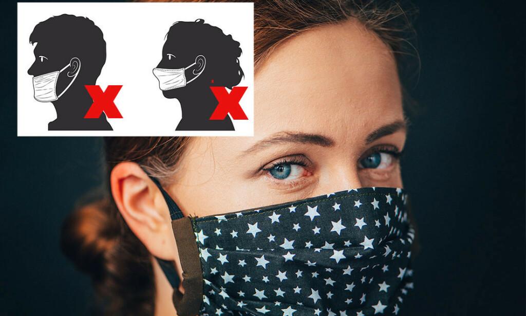 UNNGÅ TABBENE: Feilbruk er fryktet ved munnbind, både fordi det kan smitte og gi falsk trygghet. Fotomontasje: NTB Scanpix/Shutterstock