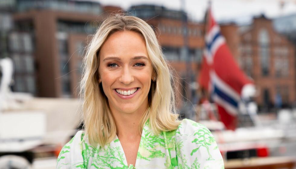 <strong>VENTER BARN:</strong> Programleder Katarina Flatland er bare en av mange kjendiskvinner som venter barn i år. Foto: TV 2