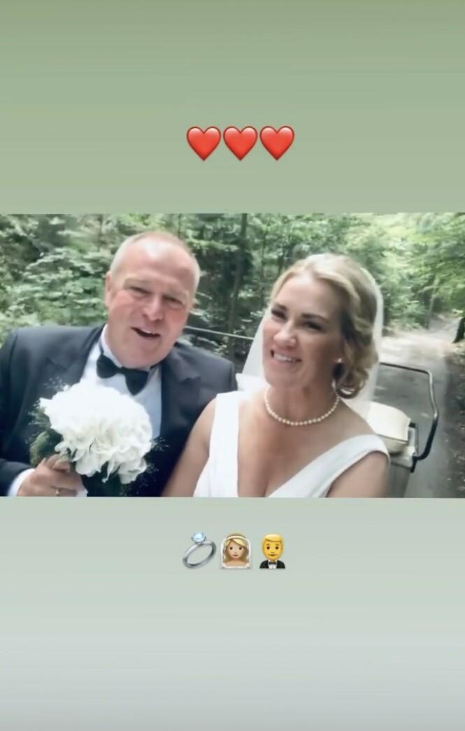 <strong>GIFT:</strong> Lørdag la Helene Rask ut en snutt på Instagram Story der det kom fram at hun hadde giftet seg med Geir Holløkken. Foto: Skjermdump fra Instagram