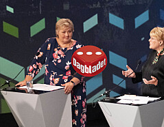 Arendal 20200813.  Erna Solberg (H) og Trine Skei Grande (V) under kveldens partilederdebatt under  Arendalsuka 2020. Foto: Tor Erik Schr¯der / NTB scanpix