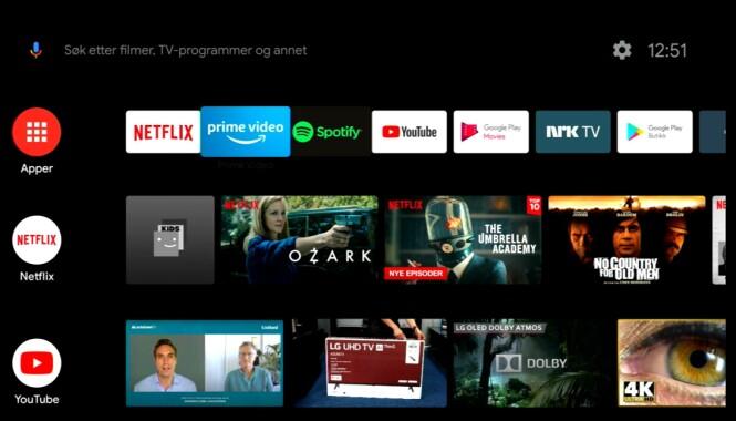 <strong>ANDROID TV:</strong> Brukervennlig og med lassevis av smart-tv-muligheter. (Skjermdump)